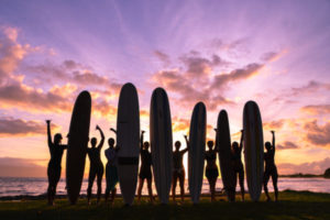 maui surf lessons | women's surf camp | Kat Gaskin Surf Camp Sunset