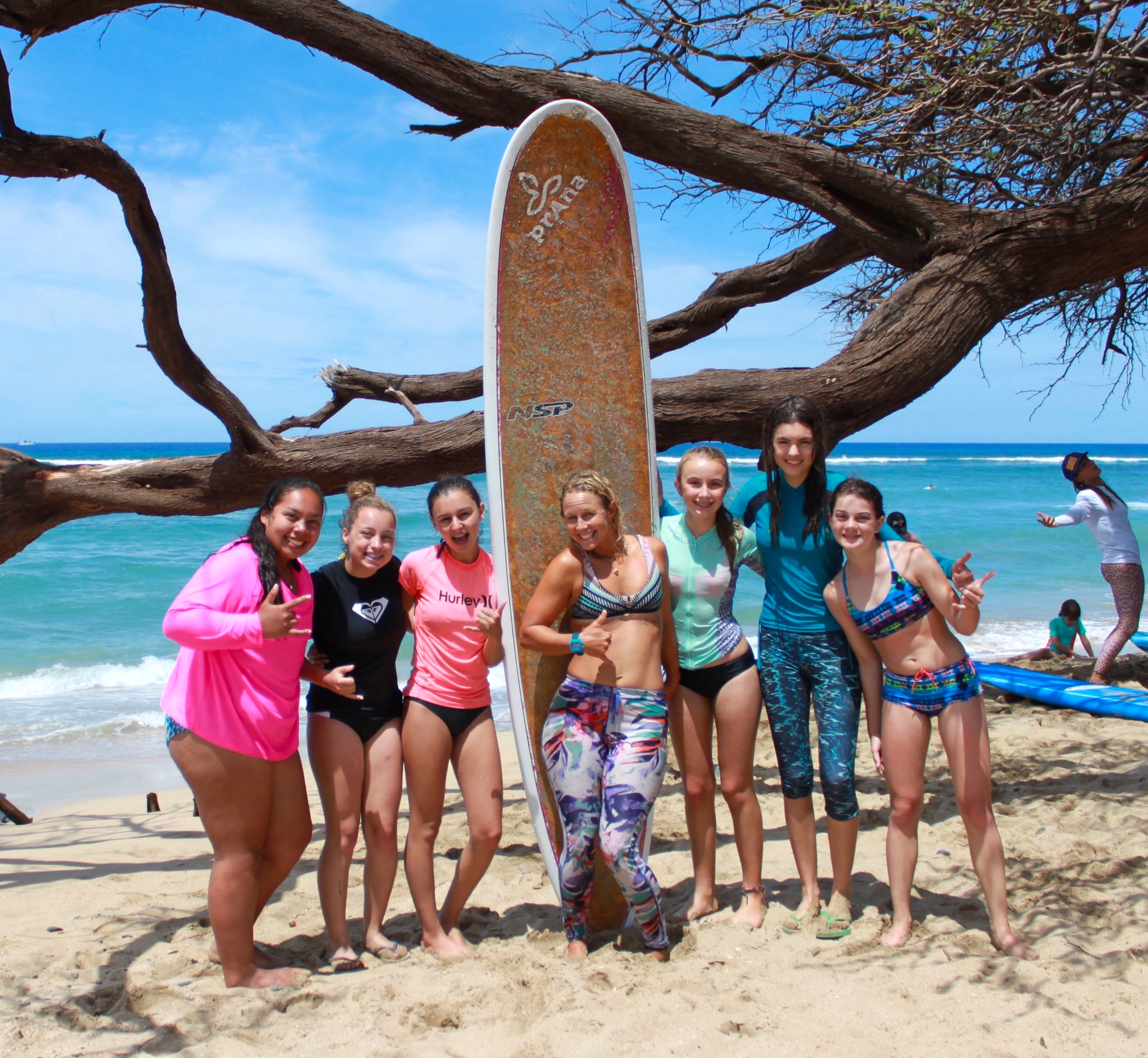 gina surf instructor maui teen surf camp