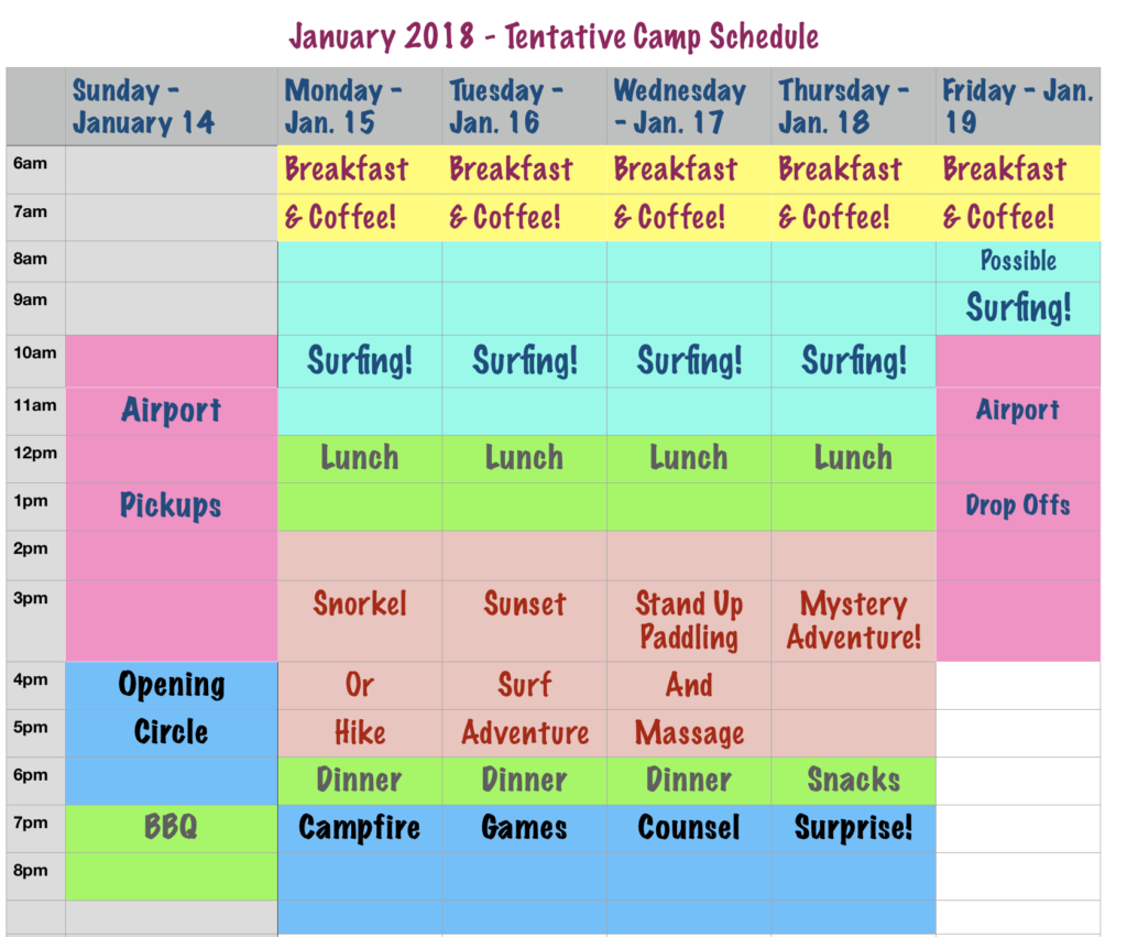 2018 winter surf camp schedule itinerary