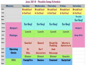 June surf camp schedule