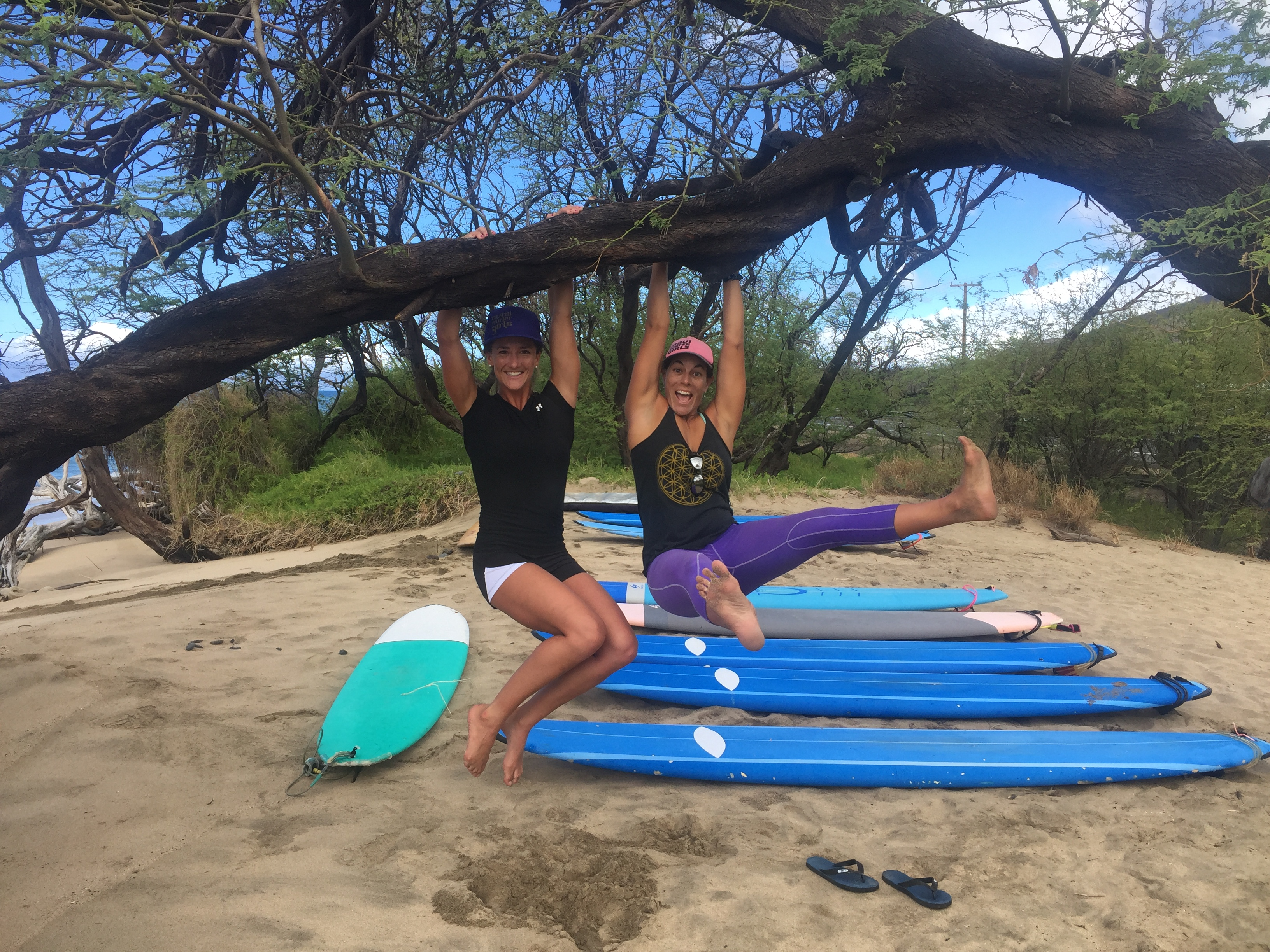 female surf instructors maui Victoria Chadsey Carole Berthiaume