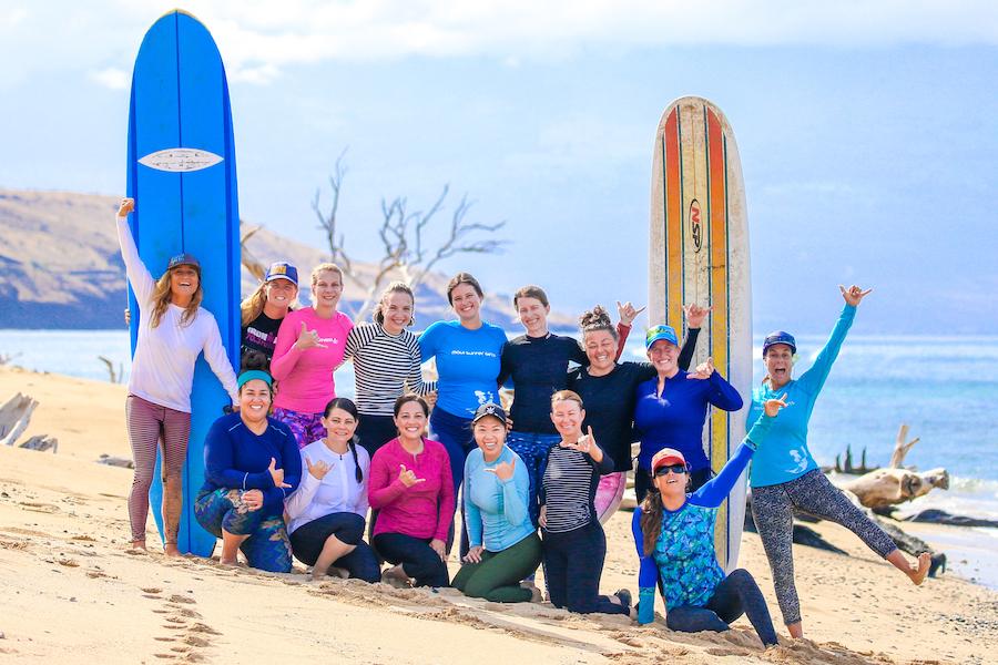 women's surf camp group shot