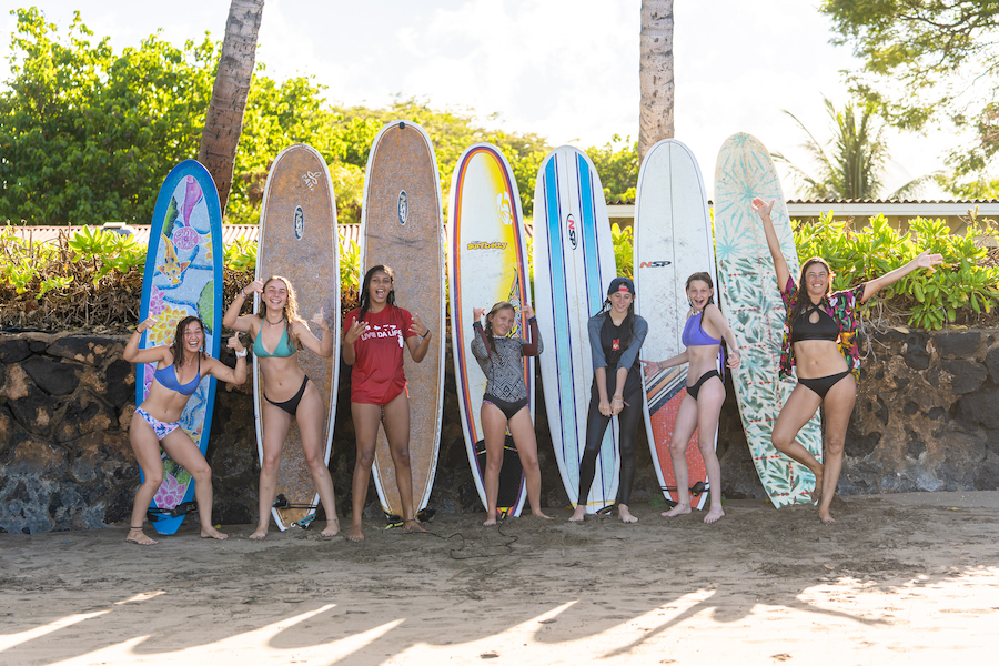Surf Coach Kelly Potts (right) with her surf pod