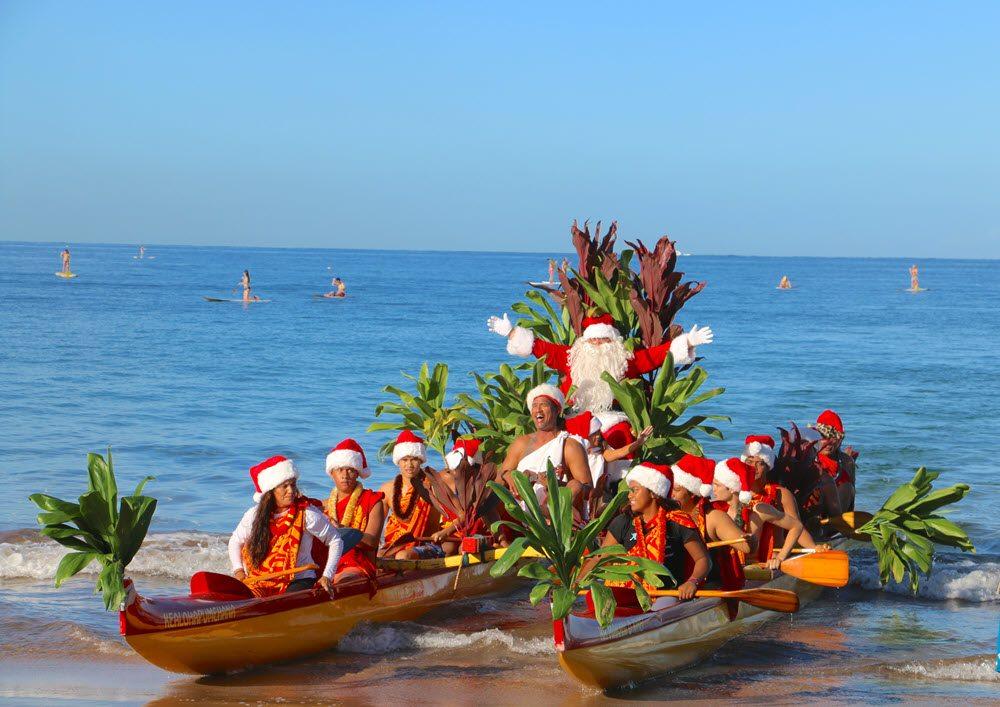 santa outrigger canoe ride 2019 Wailea maui