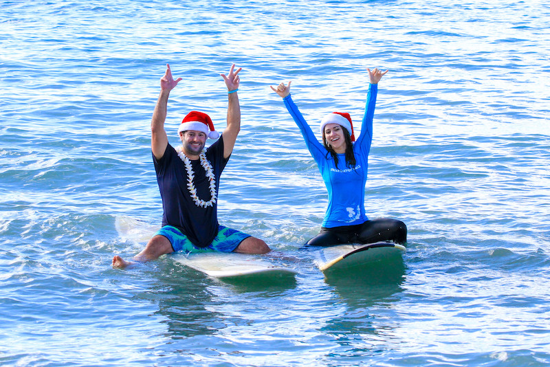 maui Christmas Santa surf lessons